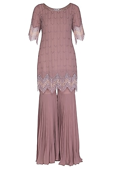 Dusty Rose Embellished Gharara Set by Ruhmahsa