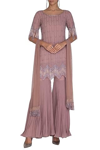 Dusty Rose Embellished Gharara Set by Ruhmahsa
