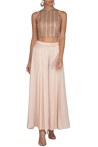 Old Rose Embellished Crop Top With Flared Pants by Ruhmahsa