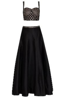 Black Embellished Lehenga Set by Ruhmahsa