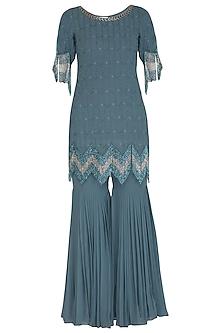 Steal Blue Embellished Gharara Set by Ruhmahsa