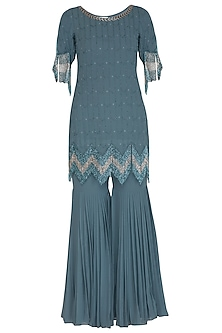 Steal Blue Embellished Gharara Set by Ruhmahsa