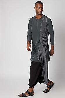 Charcoal Grey Side Pleated Kurta by Rishi & Vibhuti Men
