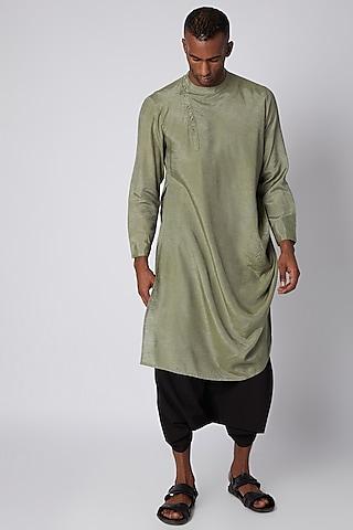 Olive Green Kurta With Long Drape by Rishi & Vibhuti Men