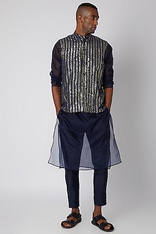 Midnight Blue Bundi Jacket With Kurta Set by Rishi & Vibhuti Men
