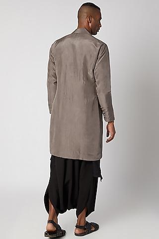 Mouse Grey Jacket Kurta With Attached Black Drape by Rishi & Vibhuti Men