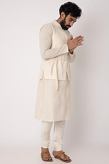 Ivory Kurta With Jacket & Belt by Rishi & Vibhuti Men