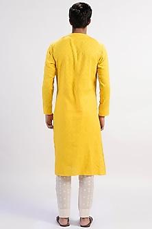Yellow Pearl Embroidered Kurta by Rishi & Vibhuti Men