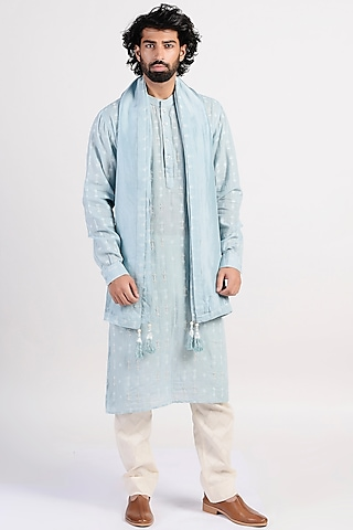 Icy Blue Embroidered Kurta With Scarf by Rishi & Vibhuti Men