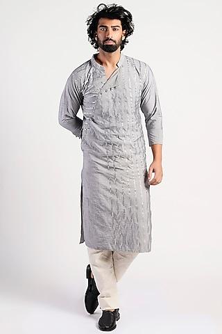 Pastel Grey Embroidered Kurta by Rishi & Vibhuti Men