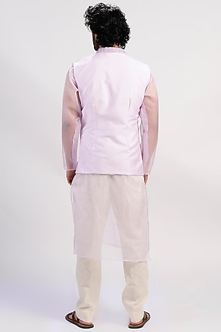 Lavender Embroidered Jacket Set by Rishi & Vibhuti Men