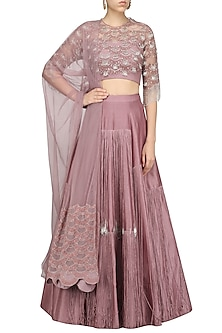 Lilac Tasseled Lehenga Set by Ridhi Mehra