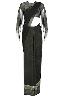 Black Printed Saree and Tasseled Blouse by Ridhi Mehra