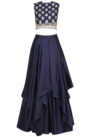 Navy Embroidered Lehenga Set by Ridhi Mehra