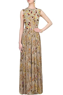 Brown Floral Printed Pleated Jumpsuit by Ridhi Mehra