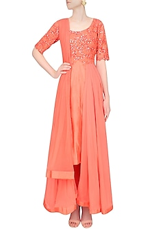 Peach High Low Floral Embroidered And Sequins Anarkali Set by Ridhi Mehra
