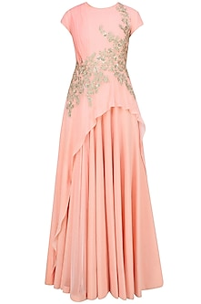 Light Pink Silver Thread Embroidered Drape Style Anarkali Set by Ridhi Mehra