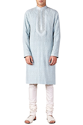 Ice Blue Lucknawi Embroidered Kurta by Ridhi Mehra Men