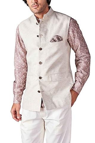 Off White Bandhgala Jacket by Ridhi Mehra Men