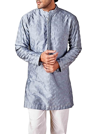 Pale Blue Chevron Embroidered Kurta by Ridhi Mehra Men