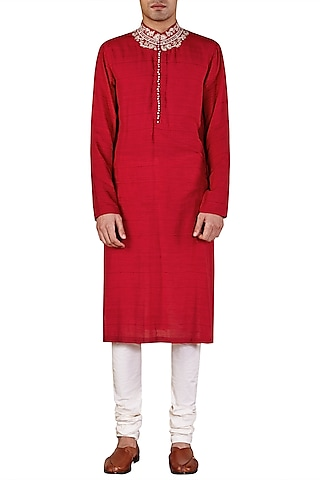 Red Long Embroidered Kurta by Ridhi Mehra Men