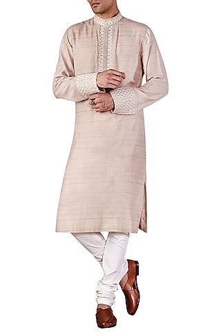Champagne Gold Long Embroidered Kurta by Ridhi Mehra Men