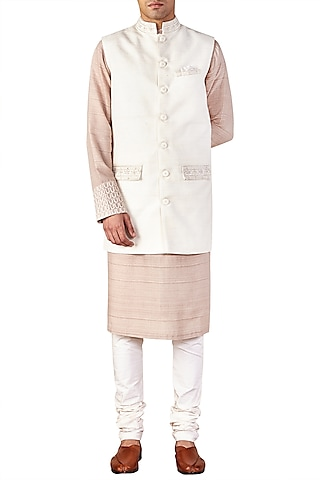 Ivory Embroidered Bandhgala Jacket by Ridhi Mehra Men