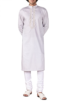 Light Grey Embroidered Short Kurta by Ridhi Mehra
