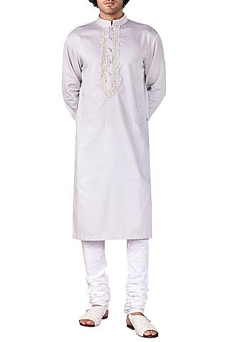 Light Grey Embroidered Short Kurta by Ridhi Mehra Men