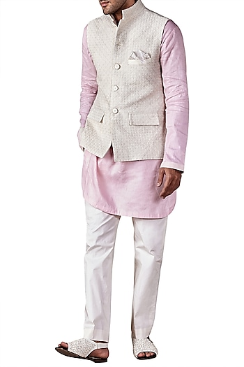 Ivory Hand Embroidered Short Bandhgala Jacket by Ridhi Mehra Men