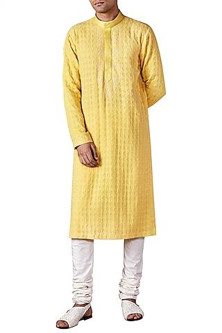 Pale Yellow Lucknawi Long Kurta by Ridhi Mehra Men