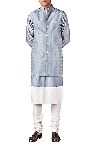 Pale Blue Chevron Embroidered Bandhgala Jacket by Ridhi Mehra Men