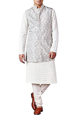 Light Grey Bird Printed Bandhgala Jacket by Ridhi Mehra Men