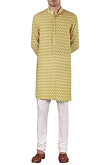 Pale Yellow Leaf Printed Kurta by Ridhi Mehra
