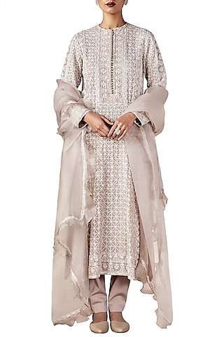 Grey Embroidered Tunic with Churidar and Dupatta by Ridhi Mehra