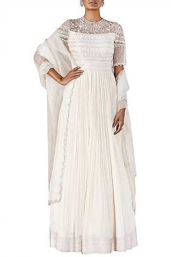 Ivory Embroidered Anarkali Gown by Ridhi Mehra