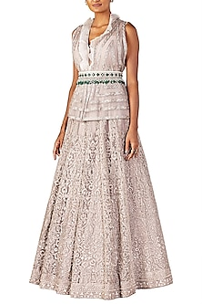 Champagne Gold Embellished Gown with Belt by Ridhi Mehra