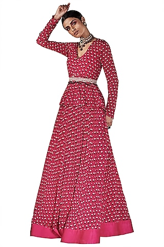 Hot Pink Printed Peplum Top with Skirt by Ridhi Mehra