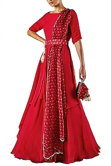 Deep Red Draped Anarkali Gown by Ridhi Mehra