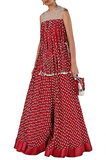Red Embellished Top with Skirt by Ridhi Mehra