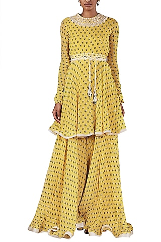 Yellow Printed Tunic with Palazzo Pants and Dupatta by Ridhi Mehra