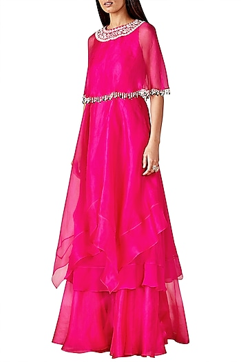 Fuschia Pink Cape Tunic with Gharara Pants by Ridhi Mehra