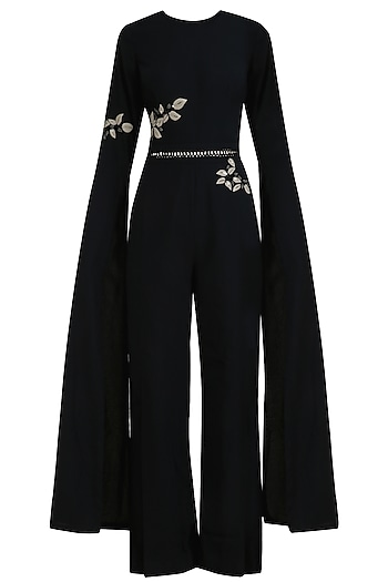 Black Leatherite Embroidered Wide Legged Jumpsuit by Ridhi Mehra