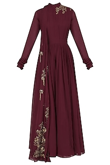 Maroon Floral Embroidered Drape Jumpsuit by Ridhi Mehra