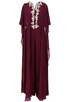 Wine Floral Embroidered Reversible Cape Jumpsuit by Ridhi Mehra