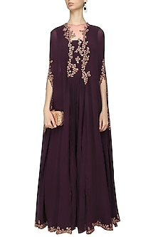 Wine Floral Embroidered Cape Sharara Jumpsuit by Ridhi Mehra