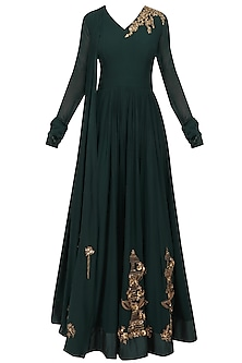 Dark Green Floral Embroidered Anarkali Set by Ridhi Mehra