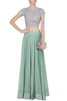 Sea Green Flared Lehenga Skirt with Floral Embroidered Crop Top by Ridhi Mehra