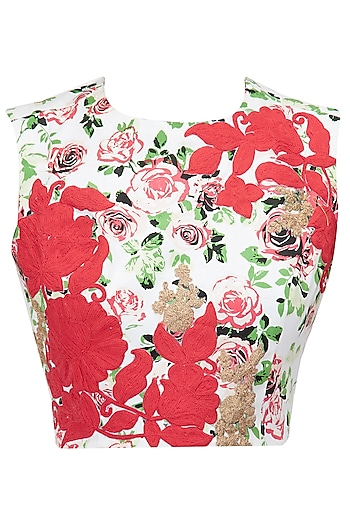Printed crop top with red floral detailing by Ridhi Mehra