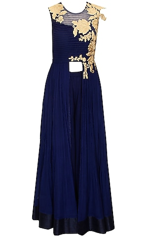 Navy blue floral embroidered anarkali with palazzo pants by Ridhi Mehra